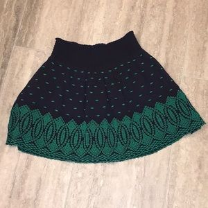J.Crew Tulip Flare Skirt S Navy/Green Embroidered